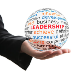 Concept of leadership. Transparent ball with inscription leadership in a hand